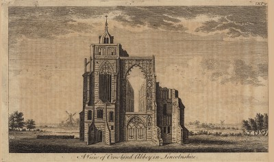 Вид на аббатство Кроуленд в графстве Линкольншир (из A New Display Of The Beauties Of England... Лондон. 1776 г. Том 2. Лист 76)