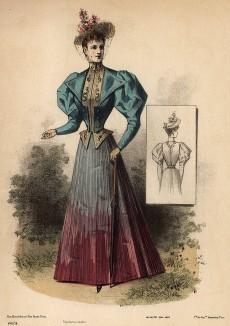 Дамский костюм, состоящий из ярко-голубого жакета с рукавами-фонариками и юбки-плиссе. Из французского модного журнала Le Coquet, выпуск 390, 1893 год