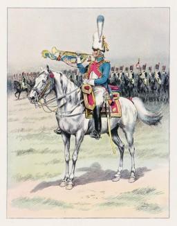 """Горнист гвардейских конных гренадеров в парадной форме. Илл. к работе """"Императорская гвардия в 1804-1815 гг."""" Париж, 1901. Экз. №303 из 606 принадлежал голландскому генералу H.J.Sharp (1874-1957)"""