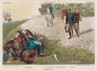 1890-е гг. Инцидент с саксонскими уланами. Vaterland in Waffen. Illustrierte Unterhaltungsblätter für das deutsche Volk und Heer, л.28. Берлин, 1895