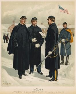 Зимняя форма одежды офицеров армии США в 1888 году (лист 40 одной из самых красивых серий хромолитографий конца XIX века, посвящённых военной форме. Издано в Нью-Йорке силами генерал-квартирмейстера армии США)
