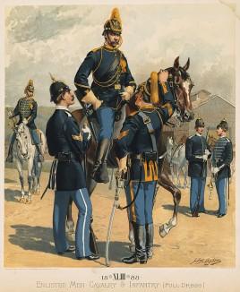 Парадная форма кавалерии и пехоты армии США в 1888 году (лист 43 одной из самых красивых серий хромолитографий конца XIX века, посвящённых военной форме. Издано в Нью-Йорке силами генерал-квартирмейстера армии США)