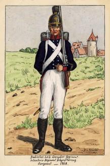 1808 г. Солдат лейб-гренадерского полка Великого герцогства Баден. Коллекция Роберта фон Арнольди. Германия, 1911-29
