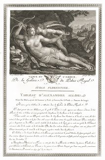Венера и Амур кисти Алессандро Аллори. Лист из знаменитого издания Galérie du Palais Royal..., Париж, 1786
