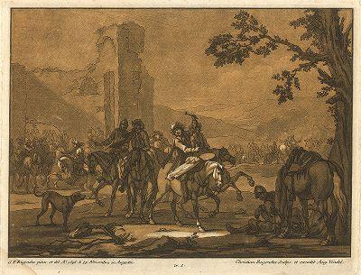 Сцена отдыха солдат с живописного оригинала Георга Филиппа Ругендаса.