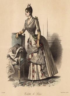 Белое вечернее платье, украшенное кружевом и расшитое красными цветами. Из французского модного журнала Le Coquet, выпуск 239, 1888 год