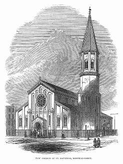 Церковь Сент--Маттайас в лондонском районе Бетнал--Грин, построенная в 1848 году по проекту британских архитекторов Томаса Генри Уайетта (1807 -- 1880) и Дэвида Брэндона (1813 -- 1897) (The Illustrated London News №304 от 26/02/1848 г.)