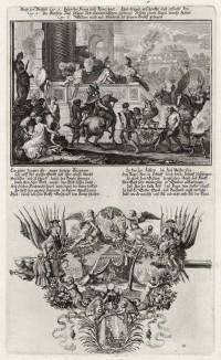 1. Аод и моавитяне 2. Убийство Аодом Еглона (из Biblisches Engel- und Kunstwerk -- шедевра германского барокко. Гравировал неподражаемый Иоганн Ульрих Краусс в Аугсбурге в 1700 году)