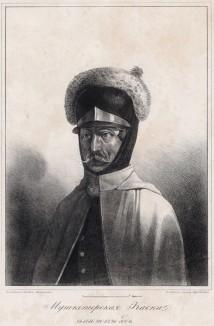 Историческое описание одежды и вооружения российских войск... А. В. Висковатова. Мушкетёрская каска с 1786 по 1796 год (лист 528)