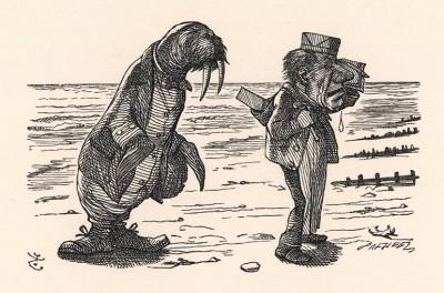 Но Морж и Плотник пошли на бережок (иллюстрация Джона Тенниела к книге Льюиса Кэрролла «Алиса в Зазеркалье», выпущенной в Лондоне в 1870 году)