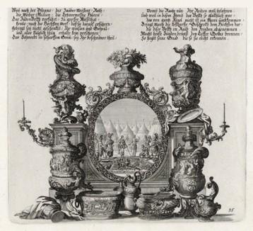 Моисей и Иисус Навин (из Biblisches Engel- und Kunstwerk -- шедевра германского барокко. Гравировал неподражаемый Иоганн Ульрих Краусс в Аугсбурге в 1700 году)