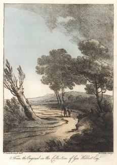 Пейзаж с двумя путниками на дороге. Гравюра с рисунка знаменитого английского пейзажиста Томаса Гейнсборо из коллекции Дж. Хибберта. A Collection of Prints ...of Tho. Gainsborough, Лондон, 1819.