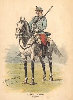 Французский гусар в полевой форме образца 1886 года (из альбома литографий Armée française et armée russe, изданного в Париже в 1888 году)
