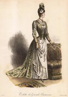 Великолепный дамский туалет из атласа и кружева для особых церемоний. Из французского модного журнала Le Coquet, выпуск 248, 1888 год