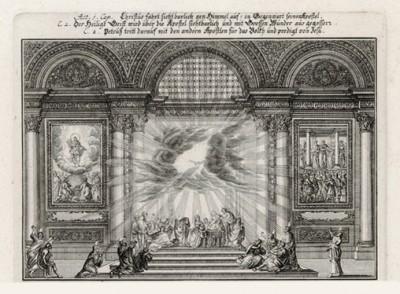 Молитва Иисуса Христа, Богоматери и апостолов (из Biblisches Engel- und Kunstwerk -- шедевра германского барокко. Гравировал неподражаемый Иоганн Ульрих Краусс в Аугсбурге в 1700 году)