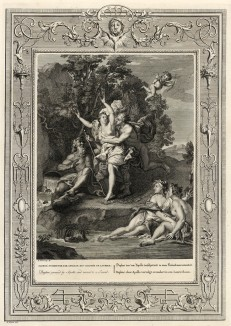 """Преследуемая Аполлоном, Дафна превращается в лавровое дерево (лист известной работы """"Храм муз"""", изданной в Амстердаме в 1733 году)"""