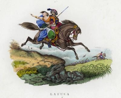Побег или похищение? (иллюстрация к L'Africa francese... - хронике французских колониальных захватов в Северной Африке, изданной во Флоренции в 1846 году)