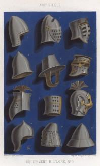 Шлем (шолом) -- головной воинский убор для предохранения головы от ударов, употреблявшийся ещё в бронзовом веке; вышел из употребления в конце XVII века. Франция, XIII век (из Les arts somptuaires... Париж. 1858 год)