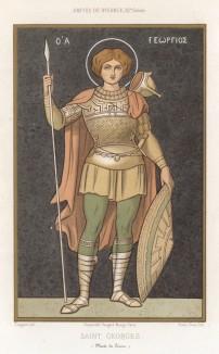 Святой Георгий Победоносец, небесный покровитель Грузии (из Les arts somptuaires... Париж. 1858 год)
