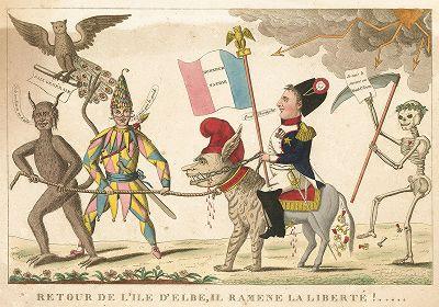 Возвращение на Эльбу. Французская сатира на Наполеона, выпущенная летом 1815 года после битвы при Ватерлоо.