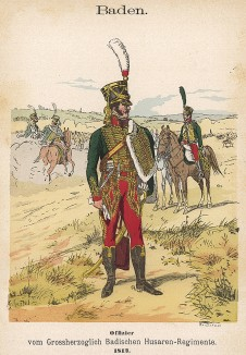 Униформа гусар Великого герцогства Баден образца 1812 г. Uniformenkunde Рихарда Кнотеля, часть 2, л.42. Ратенау (Германия), 1891