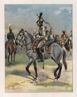 """Гвардейский драгун-трубач в парадной форме (иллюстрация к работе """"Императоская Гвардия в 1804--1815 гг."""" Париж. 1901 год. (экземпляр № 303 из 606 принадлежал голландскому генералу H. J. Sharp (1874 -- 1957))"""