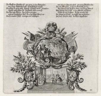 Победа Гедеона и израильтян над мадианитянами (из Biblisches Engel- und Kunstwerk -- шедевра германского барокко. Гравировал неподражаемый Иоганн Ульрих Краусс в Аугсбурге в 1700 году)