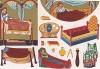 Мебель и предметы обихода в благородных домах средневековой Франции (из Les arts somptuaires... Париж. 1858 год)