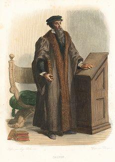 Жан Кальвин (1509-1564) - французский теолог и церковный реформатор. Лист из серии Le Plutarque francais..., Париж, 1844-47 гг.