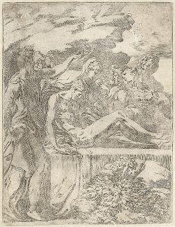 Положение во гроб. Знаменитая гравюра Франческо Маццоло, прозванного Пармиджанино - художника и первого итальянского офортиста.