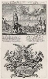 1. Битва Навуходоносора и Арфаксада за город Экбатаны 2. Аллегорическая заставка (из Biblisches Engel- und Kunstwerk -- шедевра германского барокко. Гравировал неподражаемый Иоганн Ульрих Краусс в Аугсбурге в 1694 году)