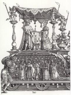Малая Триумфальная колесница, или Бургундское бракосочетание (деталь гравюры Альбрехта Дюрера, изображающая императора Максимилиана I и Марию Бургундскую)