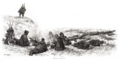 Бивуак французских егерей зимой 1871 года (из Types et uniformes. L'armée françáise par Éduard Detaille. Париж. 1889 год)