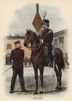 Голландские гусары (3-й гусарский полк) (иллюстрация к работе Onze krijgsmacht met bijshriften... (голл.), изданной в Гааге в 1886 году)