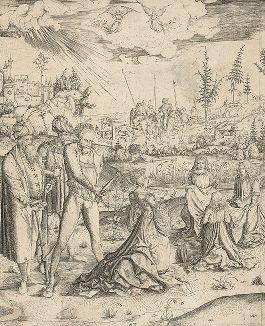 """Мученичество святой Екатерины. Гравюра Маттиаса Цазингера, также известного как """"мастер MZ"""", около 1501 года."""