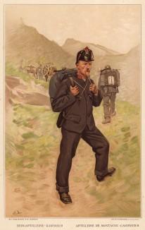 Канонир швейцарской горной артиллерии в походе (из альбома хромолитографий L' Armée Suisse... Цюрих. 1894 год)