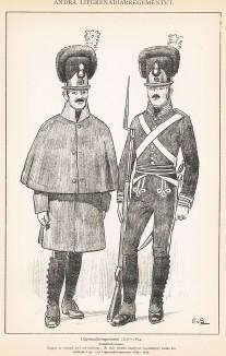 Гренадеры шведской лейб-гвардии в униформе образца 1807-14 гг. Svenska arméns munderingar 1680-1905. Стокгольм, 1911