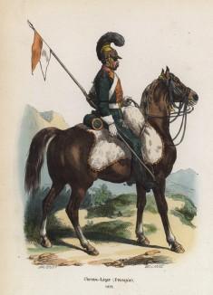 1812 год. Нижний чин французской лёгкой кавалерии (из популярной работы Histoire de l'empereur Napoléon (фр.), изданной в Париже в 1840 году с иллюстрациями Ораса Верне и Ипполита Белланжа)
