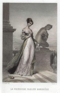 """Княгиня Полина Боргезе, урожд. Мария-Паолетта Бонапарт (1780-1825), на террасе своей римской виллы """"Паулина"""" рядом со знаменитой статуей Антонио Кановы, которая представляет ветреную сестру императора Наполеона I в облике полуобнажённой Венеры."""