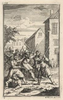 Гудибрас повержен Труллой. Сцена 2. Трулла настигает Гудибраса и сбивает его с лошади. Оказавшийся под юбкой Труллы, рыцарь выходит из щекотливого положения отнюдь не пуританским способом. Иллюстрация к поэме «Гудибрас». Лондон, 1732