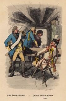 """Прусские драгуны (слева) и трубач-кирасир делают заказ в харчевне (иллюстрация Адольфа Менцеля к известной работе Эдуарда Ланге """"Солдаты Фридриха Великого"""", изданной в Лейпциге в 1853 году)"""