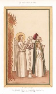 Изображение жены Лота, согласно библейскому сюжету оглянувшейся во время бегства на горящий Содом и обращённой за это в статую (из Les arts somptuaires... Париж. 1858 год)