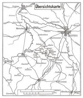 Карта театра боевых действий накануне сражения под Лейпцигом 16-19 октября 1813 г. Франц Стассен для Die Deutschen Befreiungskriege 1806-1815. Берлин, 1901