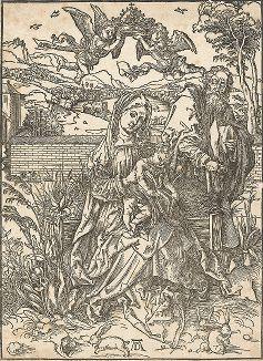 Святое семейство с тремя кроликами. Ксилография Альбрехта Дюрера, 1497-98 гг.