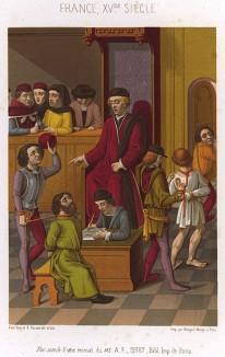 """Вынесение судебного приговора провинившимся вассалам на """"графском"""", или окружном, суде в средневековой Франции (из Les arts somptuaires... Париж. 1858 год)"""