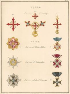 Орден Святого Константина Великого (вверху) и польские ордена. Afbeeldingen der oudere en nieuwere thans bestaande Ridderorden. Амстердам, 1843