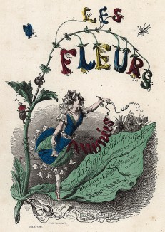 Прекрасный колокольчик. Фронтиспис работы Les Fleurs Animées (Ожившие цветы). Иллюстрация Жана Гранвиля. Париж, 1847