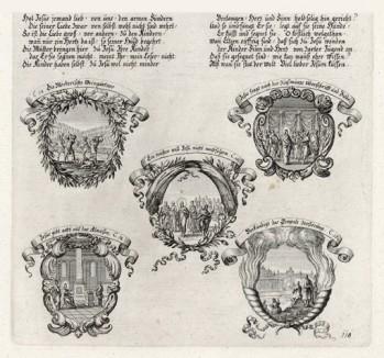 Пять сцен из Евангелия от Марка (из Biblisches Engel- und Kunstwerk -- шедевра германского барокко. Гравировал неподражаемый Иоганн Ульрих Краусс в Аугсбурге в 1700 году)