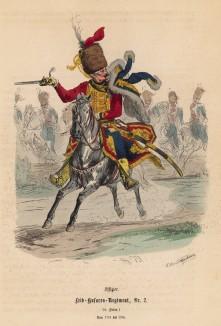 """Офицер прусских лейб-гусар во главе эскадрона (иллюстрация Адольфа Менцеля к известной работе Эдуарда Ланге """"Солдаты Фридриха Великого"""", изданной в Лейпциге в 1853 году)"""
