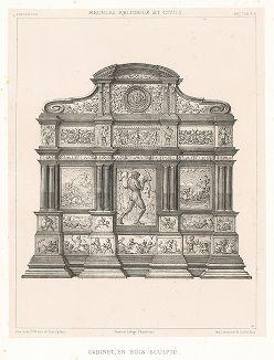 Резной итальянский кабинет, XVII век. Meubles religieux et civils..., Париж, 1864-74 гг.